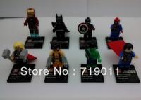 Super Heroes Iron man,superman,batman,spiderman the Avengers Series' Figure Building Blocks Toys 8 pieces/lot Free shipping