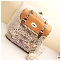0430 Free shipping 2013 print backpack school bag backpack women's handbag female embossed backpack