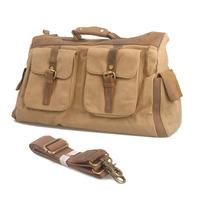 Casual Vintage Retro Style Canvas + Crazy Horse Leather Large Travel Duffle Bag Sports Shoulder Messenger Bag Handbag