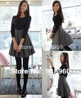 New empire waist women's Dress/autumn&winter Ladies' slim OL dress/career woman/elegant pleated lap patchwork dress/WOW