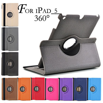 360 Degree Rotating Swivel Stand Magnetic PU Leather Case for iPad Air 5 Smart Cover Smartcover for iPad5 New Arrival(China (Mainland))