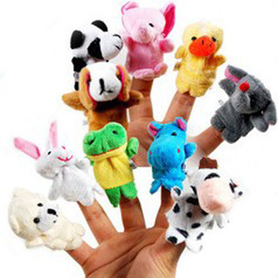 1set=10pcs Plush Cartoon Stuffed Dolls Plush 10kinds Animals Finger Puppets Kids/Baby Plush Toys Talking Props(China (Mainland))
