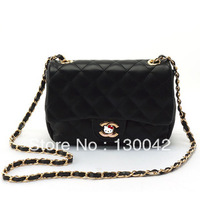 FREE SHIPPING 2013 Autumn New women's fashion style double apricot shoulder Chains bag cross-body small Plaid Messenger bag