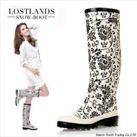 Fashion rainboots low heels waterproof women wellies,rain boot,Lady water shoes Black&white spots blue&white porcela ubber boots