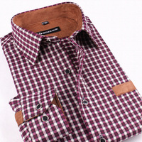 Free Shipping+Famous Brand Long Sleeve Plaid Warm Shirts/High Grade Silk Cashmere Fine workmanship Wear well Large Size S-4XL