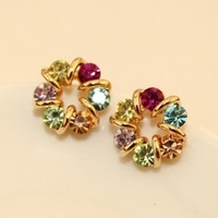Min.order is $15(mix order)    vintage exquisite candy color multicolour rhinestone full rhinestone  flower stud earring