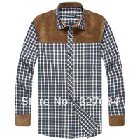 2013 Fashion Long Sleeve Warm Shirts/Thickening Plaid Shirt,Cotton blend Fine workmanship Big Size S-4xl Free Shipping
