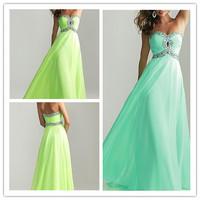 Latest Designs Prom Long Chiffon Cheap Evening Dress 2014 Lace-up Back Formal Prom Party Dress Long Chiffon Dresses