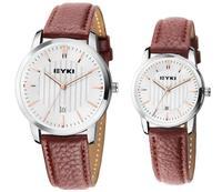 New arrival EYKI Leather Round Case Men Quartz Watch Calendar Women Multicolor Freeshipping Sweet Watch