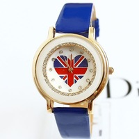 2013 Hot Fashion Partysu Watches New Brands Cat Rhinestone Bracelet Chain Round Watch Brand Famous Free Shipping