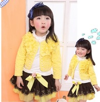 3pcs sets New girl clothing knitted rose suit +lace shirt + bow tutu rose skirt children dress suits 1T 2t 3t 4-5t