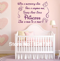 With a butterfly kiss wall stickers for kids rooms girl removable art vinyl nursery decor baby girl,princess wall stickers