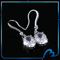 2014 Fashion Zircon Silver plated earrings bridal Wedding charm earrings clear CZ dangle earrings for Women (Min order $8)