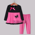 2014 New Year Baby Girl Animal Print Clothing Set Dots And Red Tops With Butterfly And Red Pants Winter Chirstmas Infant Clothes