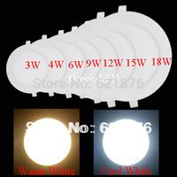 Freeshipping hot 3W 4W 6W 9W 12W 15W 18W SMD 2835 ultrathin Round Recessed Panel Ceiling Light AC85-265V Warm white Cool white