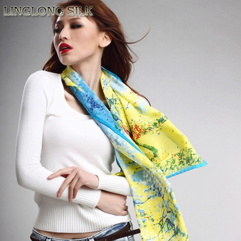 [Silk crepe scarf]45cm*160cm fashion long shawl/100% mulberry silk/High quality oil painting scarf