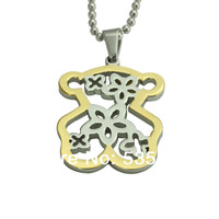 Wholesale bear  statement necklace  jewelry stainless steel gold plated pendant necklace for women