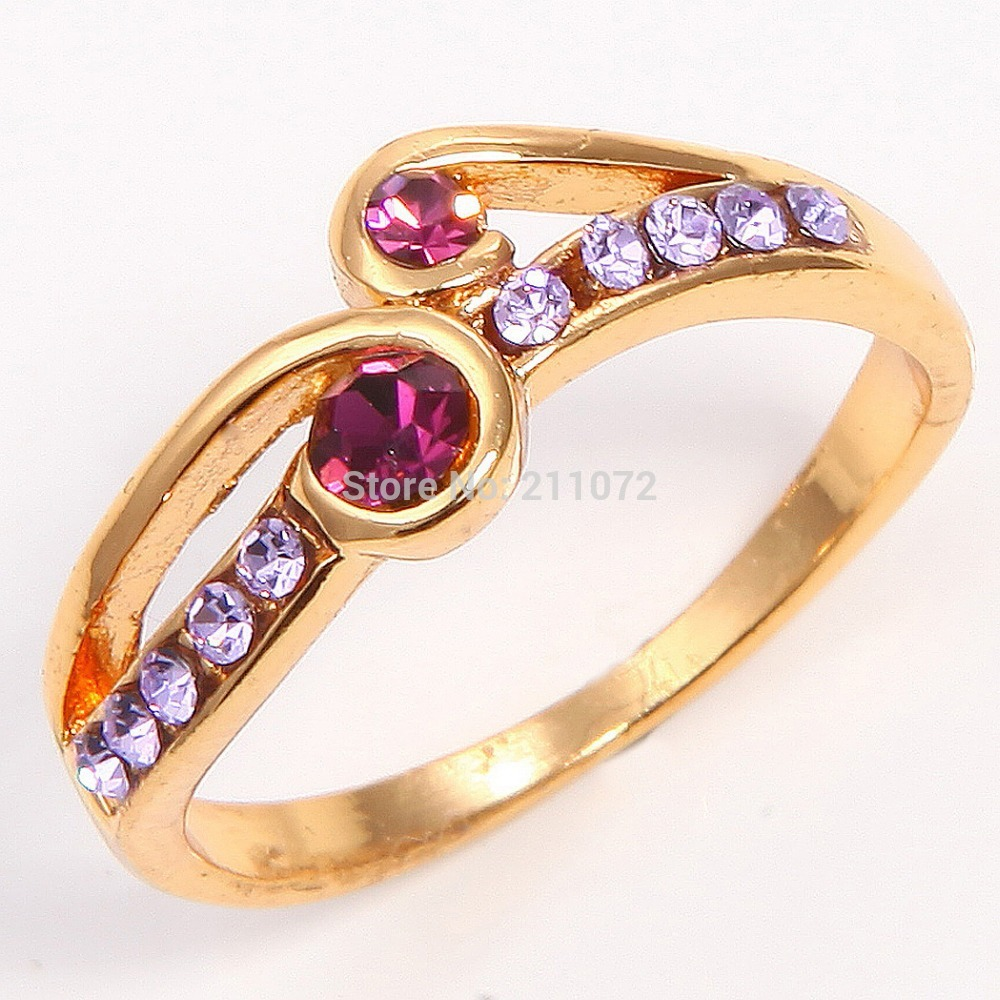 Gorgeous 14k Yellow Gold Filled Amethyst Womens Jewelry Ring SZ7.5 P127 wedding gold rings for women(China (Mainland))