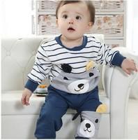 2013 new style  baby boy/girl spring-autumn stripe 2 pcs clothing set long sleeve .bebe lovely bear pattern clothing set
