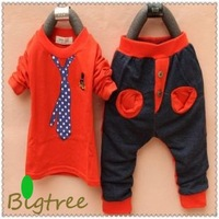 Free Shipping Children Clothing sets, Boys' Fashional Tie Print Cotton Clothing Sets, Casual Kids Sets, TTT057