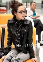 Free Shipping Autumn-Summer HOT SELL Fashion Women Leather Apparel Short Design Slim PU Jacket Motorcycle Outerwear Black Slim