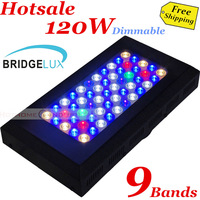 Free shipping 120W Bridgelux Dimmable led grow light aquarium led grow light 90 degree lens+55pcs*3w leds+9 Band