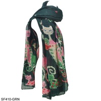 6 Colors New Arrival 2013 Free Shipping Fashion Lady Scarves Poppy Cat Silk Print Scarf  For Women SF410