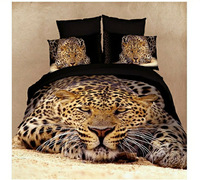 Free shipping 3D Leopard 4pcs 5pcs active print queen bedding set wild animal Leopard bedclothes set bedding covers luxury/