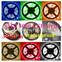Free Shipping 7color waterproof 12V  DC SMD 5050 30led/m 5M LED strip Flexible Light Strip bright festival LED lighting