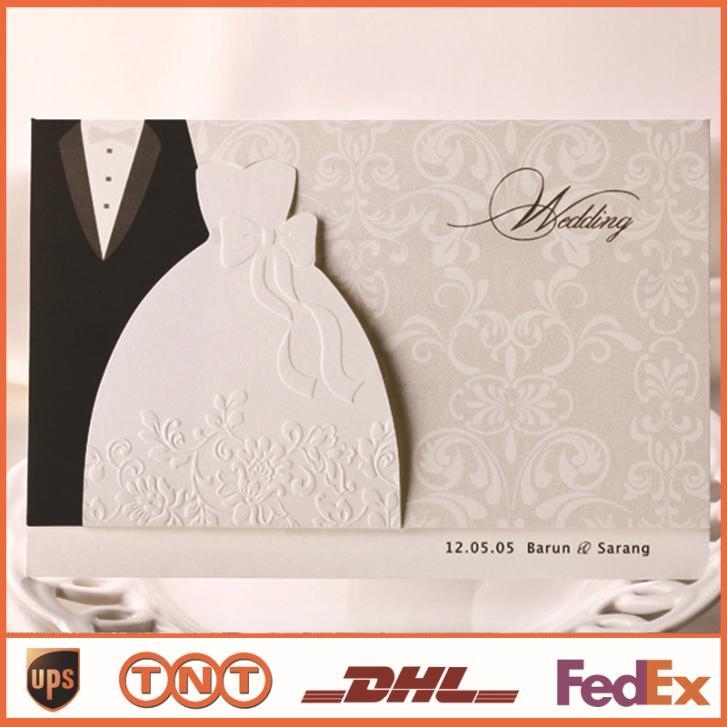 Convites de casamento formal Cartões com impressão Black & White Vestido Estilo Convites de casamento Cartão elegante HQ0087(China (Mainland))