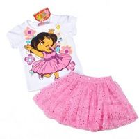 2013 New Fashion Dora Children Clothing Set Brand Lovely Cartoon Girls Clothes 2Pcs  Shirt+Pink Tutu Skirt Kids Summer  Costume