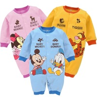 Free Shipping Retail Spring Autunm Winter Mickey&Minne Jumpsuit Children Hot Romper Toddle Overalls Kids Animal BodySuits Baby