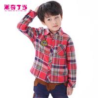 Free shipping #1321551 Autumn British Style Fleece Inside Children Baby Boys Checked Polo Design Pure Cotton Warm Plaid Shirts