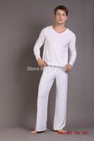 Men's sleepwear male pajama pants viscose sleepwear Hooded pajama+pants set sleepwear yoga clothes Pajama Sets