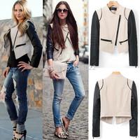 Hot sale Women Fashion Collarless Long sleeve zipper pockets Faux PU Leather black & beige Contrast slim fit Jacket Short Coat