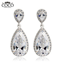 Swiss Luxury Water Droplets Fashion Earrings Wholesale Women 18k Gold Plated Accessories CE021