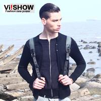 viishow2013 thin cardigans coat cardigan men zipper autumn new sweater knitted long sleeves black slim short style 2013 brand