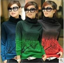 nuevo otoño- invierno mujeres suéter de cachemira cuello alto gradiente de impresión rama color diseño suéter gran tamaño s- xxxl(China (Mainland))