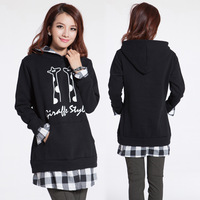 2014 Plus Size Fashion Spring And Winter Loose Faux Two Piece Hooded Sweatshirt Outerwear Large Size Coat Free Shipping