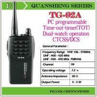 Portable Two Way Radio QUANSHENG Two Way Radio UHF/UHF Multiband Transceiver  TG-92A Free Shipping