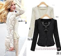 Vogue Spring Women Jacket Ladies Female One Button Long Sleeve Crochet Lace Blouse Peplum Top Jackets Coat Suit White Black 1002