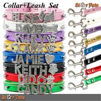 Metallic Rhinestones Diamond Buckle Personalized Pet Dog Collar&Leash Set  Free Name& Charm (Price including Collar+Leash+Name)