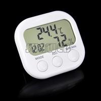 Indoor Digital Thermometer Hygrometer Clock KS-005 TA638 White Free Shipping TK0440