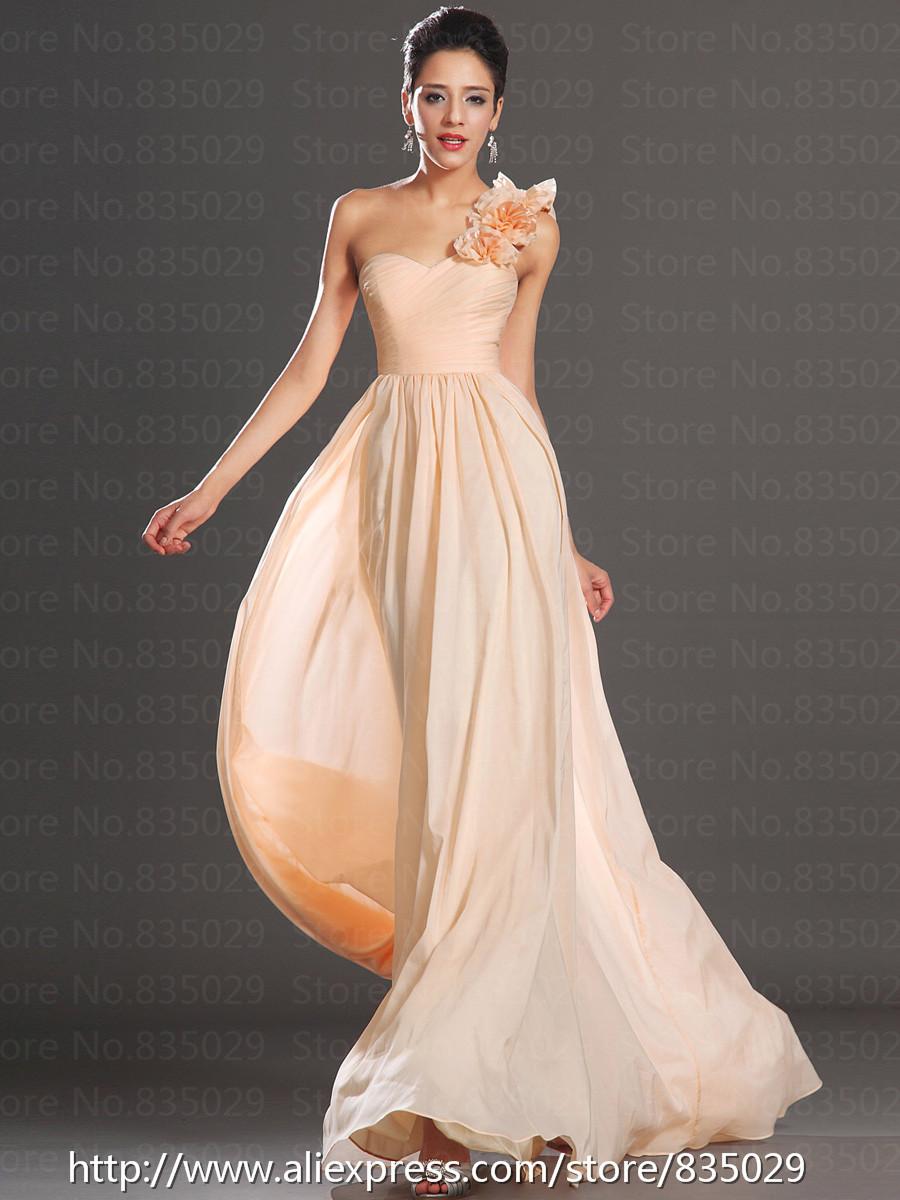 Floral single strap long chiffon light pink bridesmaid dress