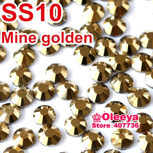 SS10 2.7-2.8mm,1440pcs/Bag Aurum Hematite Gold DMC HotFix FlatBack loose Rhinestones,machine cut iron-on crystals stones Y0120(China (Mainland))