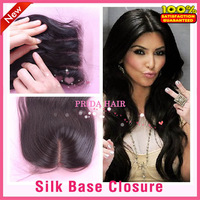 6A Human Virgin Brazilian Hair Silk Base Closure 4x4 Bleached Knots Three Middle Part Silk Top Lace Closure Body Wave Free Style