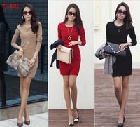 New 2013 Hot  Women's Autumn Dress Long-sleeve Casual Autumn -summer Plus Size Cheap Cotton Dress  3XL Size