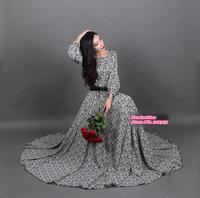 New 2015 spring  women plus size long dress casual fashion maxi sleeve dress floor-length vintage elegant print full vestidos