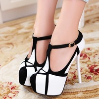 shoes woman 2014 platform pump wedgesFashion sexy high-heeled shoes thin heels round toe platform shoes women's pumps
