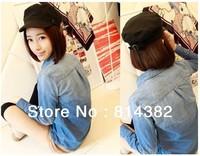Women Jeans Coat Jackets Pocket Single Breasted Long Sleeve Casual Coat Women Plus Size Blue S~L Free Shipping